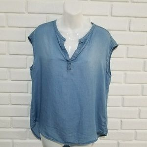 Anthropologie Cloth and Stone Blue Tank L
